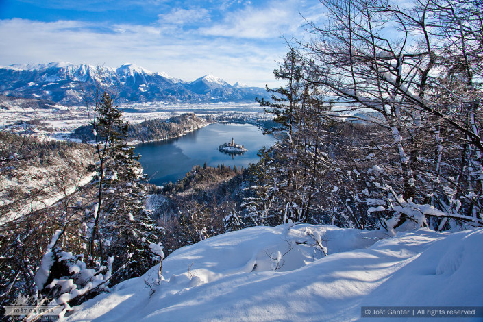 Zimski razgledi na Bled z Osojnice.