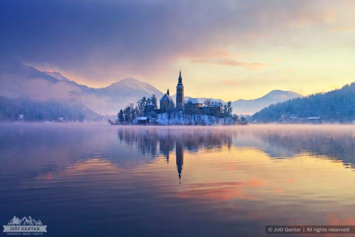 Zimsko jutro na Bledu.
