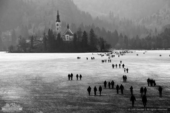 Zamrznjeno Blejsko jezero.