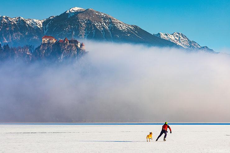 Drsanje na Blejskem jezeru