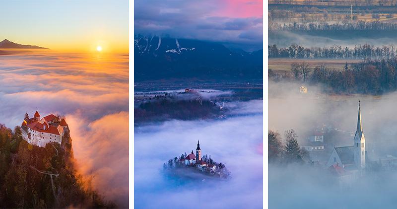 Foto: 38 razgledov na Bled v objemu nizkih oblakov in meglic